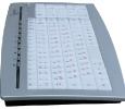 Russische Tastatur leuchtende Seitensicht