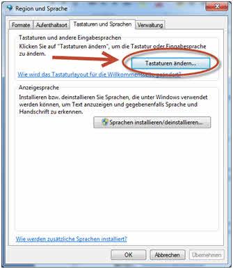 Russische Tastatur unter Windows Tastaturen ändern